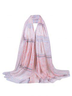 Floral Wave Stripe Pattern Fringed Long Scarf - Light Pink