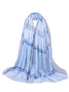Floral Wave Stripe Pattern Fringed Long Scarf - Light Blue