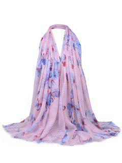 Bufanda Escarpada Adornada Con Lentejuelas De Patrón Floral - Rosa