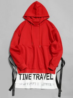 Ribbon Time Travel Graphic Hoodie - Red 2xl