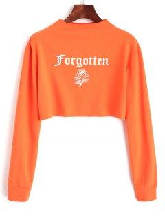 Sweat-shirt Court Imprimé Lettre Et Rose - Orange Rose S