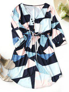 Half Buttoned Asymmetrical Geometric Mini Dress - Purplish Blue Xl