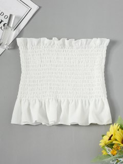 Ruffle Smocked Tube Top - White S