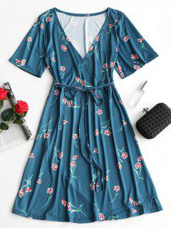 Plunging Neck Floral Print Surplice Dress - Blue Green M