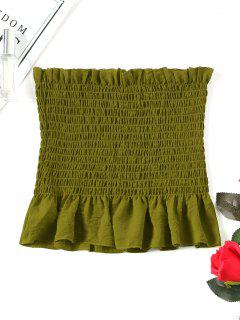 Ruffle Smocked Tube Top - Army Green S