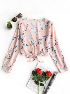 Plunging Neck Bowknot Hem Floral Blouse - Floral M