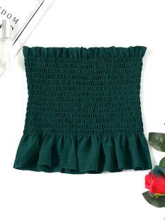 Ruffle Smocked Tube Top - Deep Green S