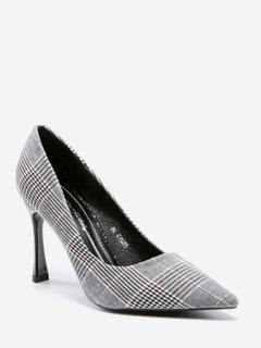 High Heel Checked Cloth Pumps - Gray 36