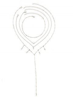 Rhinestone Collarbone Star Necklace Set - Silver
