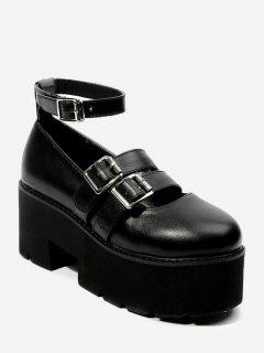 Ankle Strap Dual-buckled Platform Shoes - Black 39