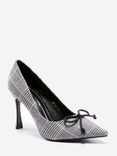 Stiletto Heel Bowknot Checked Pattern Pumps - Gray 39