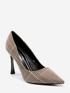 High Heel Checked Cloth Pumps - Brown 37