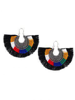 Boucles D'Oreilles Motif Lune Et Pompons Style Tribal - Noir