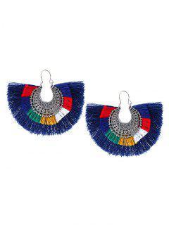Tribal Moon Tassel Earrings - Blue