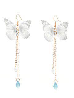 Faux Pearl Fringed Mesh Butterfly Earrings - Gray