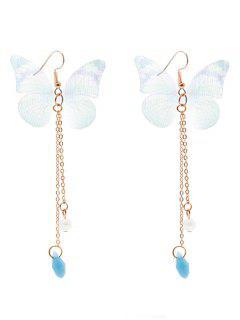Faux Pearl Fringed Mesh Butterfly Earrings - Light Green