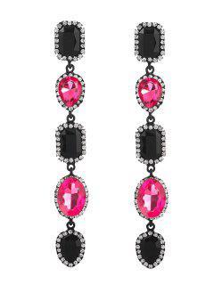 Boucles D'Oreilles Géométriques Exagérées En Faux Cristal - Rose