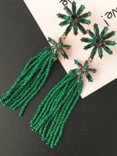 Floral Beaded Inlay Rhinestone Tassel Drop Earrings - Green