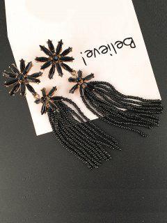 Floral Beaded Inlay Rhinestone Tassel Drop Earrings - Black