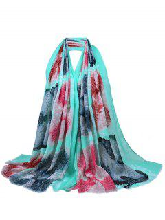 Floral Pattern Sequins Decorated Fringed Shawl Scarf - Green