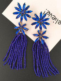 Floral Beaded Inlay Rhinestone Tassel Drop Earrings - Blue