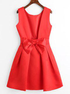 Open Back Bowknot Mini Flare Dress - Red S