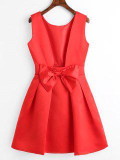 Open Back Bowknot Mini Flare Dress - Red M