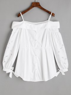 Button Up Embroidered Cold Shoulder Top - White L