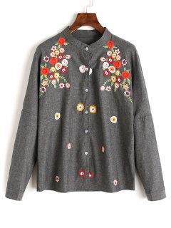 Chemise Boutonnée à Fleurs Brodées - Gris Foncé S