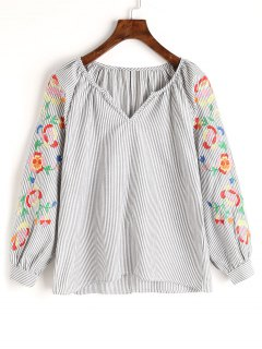 Stripes Embroidered Blouse - Gray S