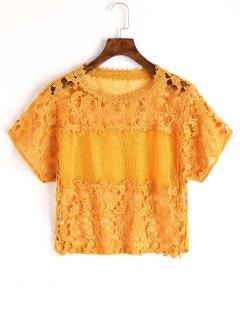 Top En Crochet Au Laser - Moutarde M