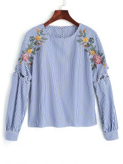 Ribbon Embroidered Stripes Blouse - Blue L