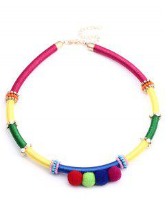 Ethnic Beads Fuzzy Ball Necklace