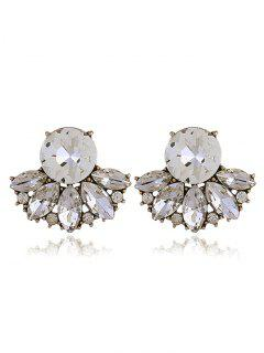 Sparkly Rhinestone Faux Crystal Earrings - White