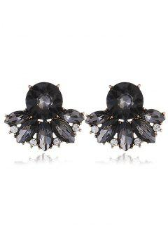 Sparkly Rhinestone Faux Crystal Earrings - Black