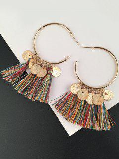 Tassel Circle Disc Hoop Drop Earrings
