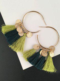 Tassel Circle Disc Hoop Drop Earrings - Green