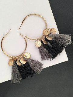Tassel Circle Disc Hoop Drop Earrings - Black And Grey