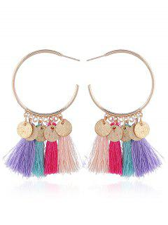 Tassel Circle Disc Hoop Drop Earrings - Blue+rose Red+purple+green