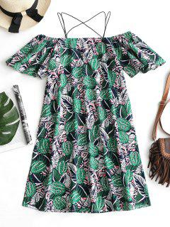 Cold Shoulder Leaves Print Cami Dress - Green Xl