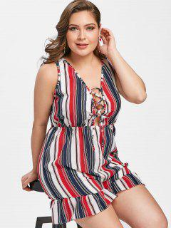 Plus Size Lace Up Striped Romper - Stripe 3xl
