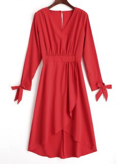 Spilt Sleeve Tiered Asymmetrical Maxi Dress - Red S