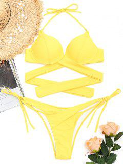 Underwire String Wrap Bathing Suit - Yellow M