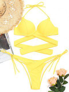String Wrap Badeanzug - Gelb S