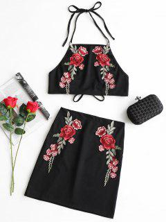 Floral Patched Halter Top And Skirt Set - Black Xl