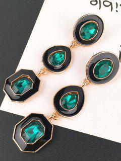 Geometric Shining Faux Crystal Party Gift Drop Earrings - Green