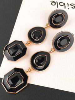 Geometric Shining Faux Crystal Party Gift Drop Earrings - Black
