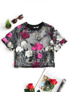 Blusa Floral De Malla Transparente - Sangria M