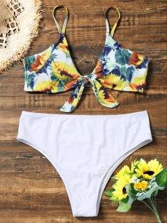 Bikini De Corte Alto Anudado Con Estampado Extra Grande De Girasol - Blanco 3xl