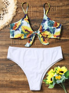 Sunflower Plus Size Knotted High Cut Bikini - White Xl